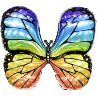 Шар (31''/79 см) Фигура, Бабочка, Яркая радуга, Голография