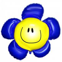 "Шар (41''/104 см)  Фигура ""Цветок, Солнечная улыбка, Синий"""