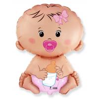 Шар (26''/66 см) Фигура, Малышка девочка, Розовый