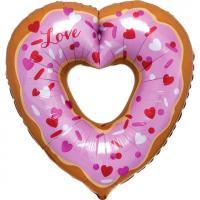 "Шар ( 30""/76 см) Фигура"" Сердце Пончик"""
